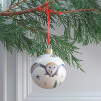Fine Bone China Barn Owl Christmas Bauble