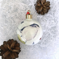 Fine Bone China Garden Bird Christmas Bauble
