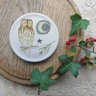 Bone china tawny owl coaster