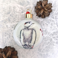 Fine Bone China Christmas Bauble - woodpecker design