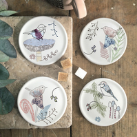 Toadstool and Bird Coasters