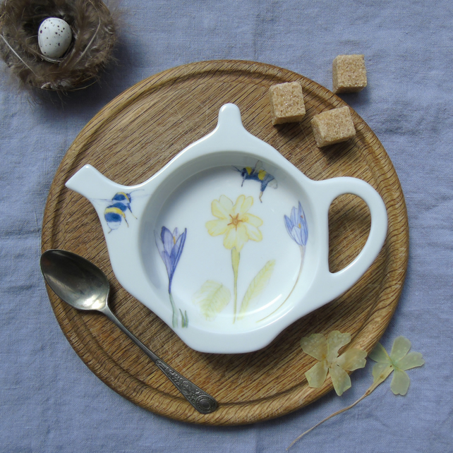 Teabag Tidy, primrose and bee design