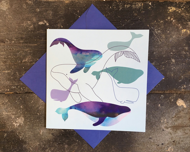 Whale and dolphin illustrated art card