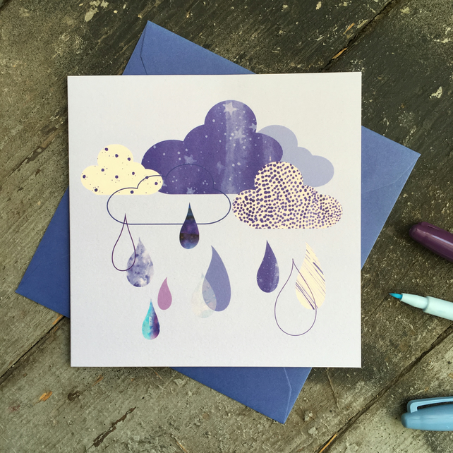 Cloud and Raindrop Scandi Style Birthday Card