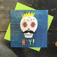 Sugar skull day of the dead Halloween card