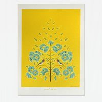 Swallow and Flax Flower - Art Print