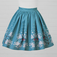 Blue Cotton Skirt - Cherry Blossom (original design)