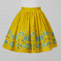 Yellow Cotton Skirt - Flax Flower (original design)