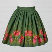 Green Cotton Skirt - Peony (original design)