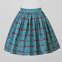 Blue Cotton Skirt - Bullfinch (original design)