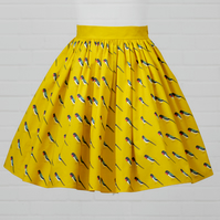 Yellow Cotton Skirt - Swallow (original design)