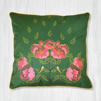Green Pillow Cover - Chickadee and Peony