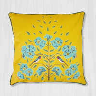 Yellow Pillow Cover - Swallow and Flax Flower