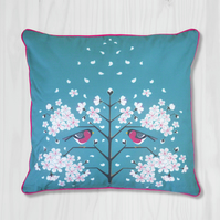 Blue Pillow Cover - Bullfinch and Cherry Blossom