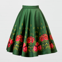 Green Heavy Satin Skirt - Chickadee and Peony