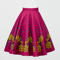 Raspberry Heavy Satin Skirt - Robin and Jasmine