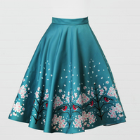 Teal Blue Heavy Satin Skirt - Bullfinch and Cherry Blossom