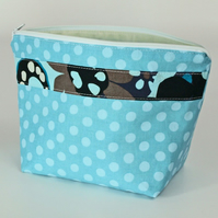 Blue polka dot make up bag, large, cosmetic bag, free UK p&p