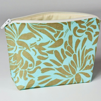 Green floral make up bag, small, cosmetic bag, free UK p&p