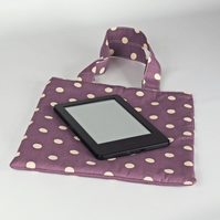 Book bag, small bag, lunch bag, handbag, tote bag, polka dot, purple,free UK p&p