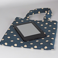 Book bag, handbag, tote bag, small bag, lunch bag, polka dot, grey, free UK p&p