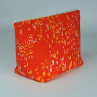 Make up bag, cosmetic bag, large, orange, foliage, free UK p&p