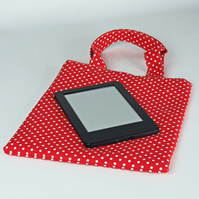 Book bag, small bag, lunch bag, handbag, tote bag, polka dot, red, free UK p&p