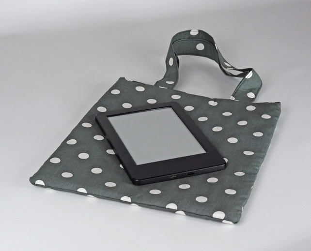 Book bag, small bag, lunch bag, handbag, tote bag, polka dot, grey, free UK p&p