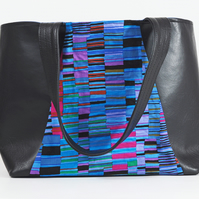 Tote bag, shoulder bag, shopping bag, faux leather, multicoloured, free UK p&p