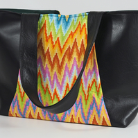 Tote bag, shoulder bag, handbag, shopping bag, faux leather, zigzag, free UK p&p