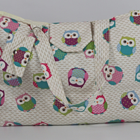 Beach bag, large tote bag, large shopping bag, holiday bag, owls, free UK p&p
