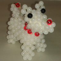 Cute Beaded Dog - Red Collar