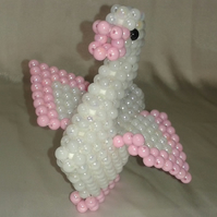 White Beaded Duck - Pink Trim