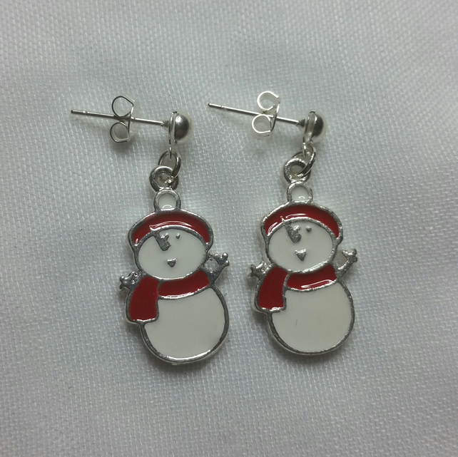 Enamelled Snowman Earrings Style 1