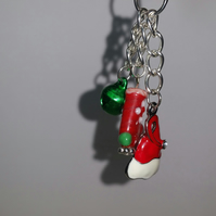 Christmas Stocking and Enamelled Santa Hat Bag Charm