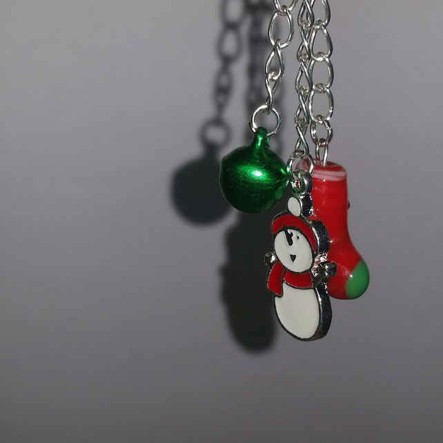 Christmas Stocking and Enamelled Snowman Bag Charm