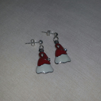Enamelled Santa Hat Earrings Style 1