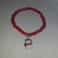 Red Stretchy Bracelet With Snowman Charm (55mm inner diameter)