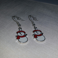 Enamelled Snowman Earrings Style 2