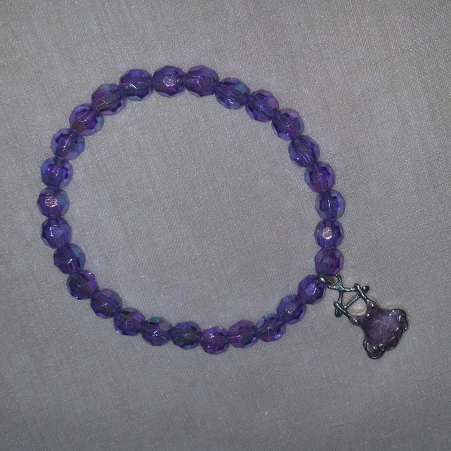 Lilac Stretchy Bracelet With Lilac Dress Charm