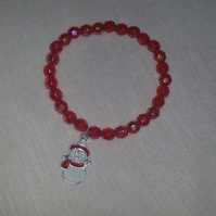 Red Stretchy Bracelet With Snowman Charm (50mm inner diameter)