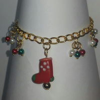 Gold Plated Christmas Stocking Bracelet