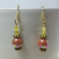 Brown and Yellow AB (Aurora Borealis) Beads Earrings