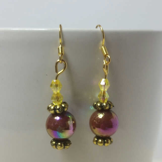 Dark Purple-Brown and Yellow AB (Aurora Borealis) Beads Earrings