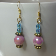 Lilac and Blue AB (Aurora Borealis) Beads Earrings