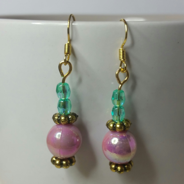 Lilac and Green AB (Aurora Borealis) Beads Earrings