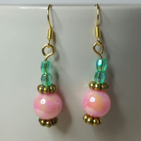 Pink and Green AB (Aurora Borealis) Beads Earrings
