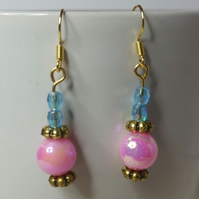 Pink and Blue AB (Aurora Borealis) Beads Earrings