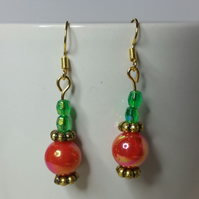 Orange-Red and Emerald Green AB (Aurora Borealis) Beads Earrings