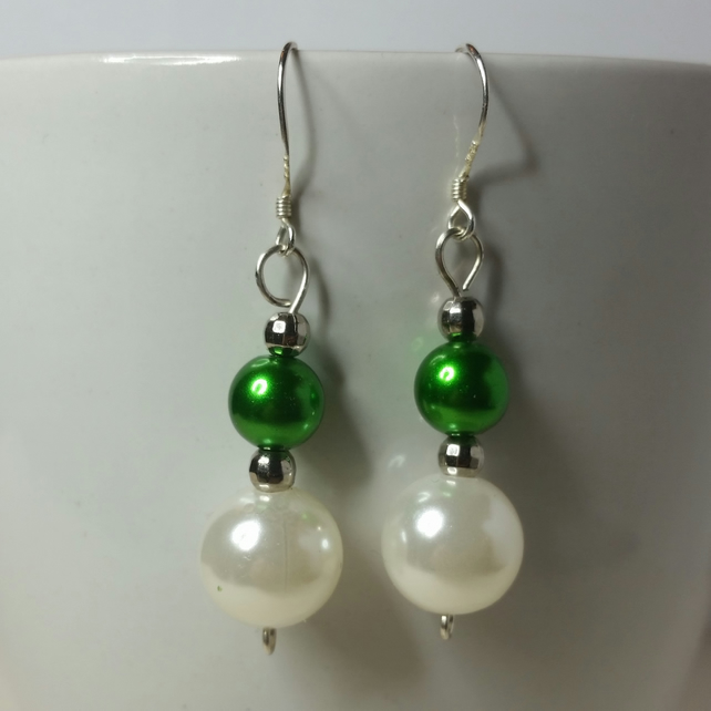 Off White And Green Imitation Pearl, Nickel-Free Earrings